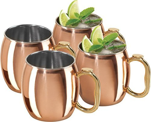 Oggi Copper-Plated 20 Ounce Moscow Mule Drinking Mug, Set of 4 by BigKitchen by BigKitchen