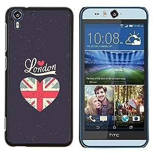 Stuss Case / Funda Carcasa protectora - El amor de la bandera de Londres gris del corazón Unión Uk - HTC Desire Eye ( M910x )