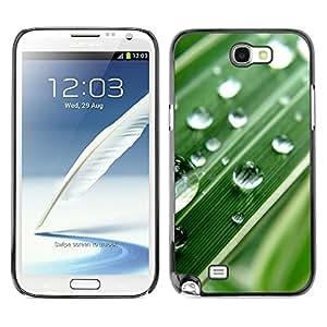 TopCaseStore / la caja del caucho duro de la cubierta de protección de la piel - Green Water Drop Macro Leaf - Samsung Galaxy Note 2 N7100