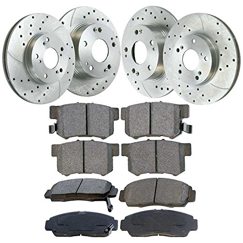 Prime Choice Auto Parts BRKPKG039482 Set of Performance Silver Brake Rotors and Ceramic (Honda High Performance Brake Pad)