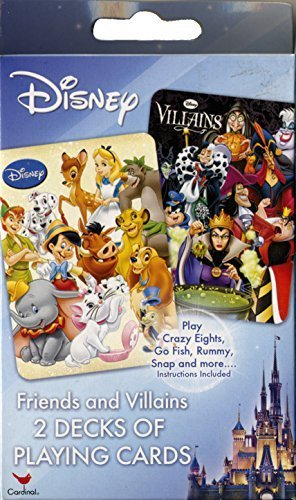 DISNEY FRIENDS AND VILLAINS 2 DECKS OF PLAYING CARDS by Disney