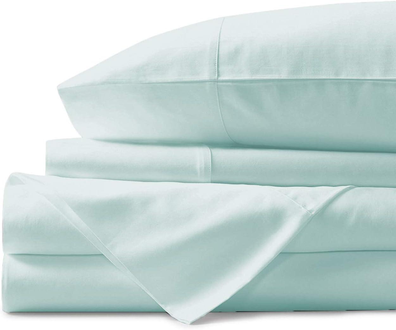 Mayfair Linen 100% Egyptian Cotton Sheets, Sea Foam Queen Sheets Set, 800 Thread Count Long Staple Cotton, Sateen Weave for Soft and Silky Feel, Fits Mattress Upto 18'' DEEP Pocket