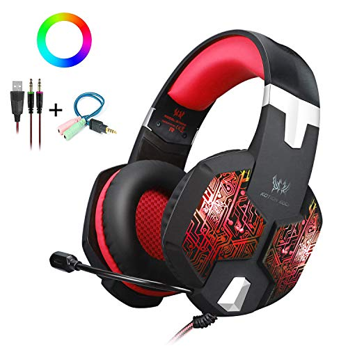 KOTION EACH Gaming Headset Gaming Headphones with Mic for PC PS4 Cell Phone,Over Ear PC Gaming Headset with Stereo Surround Sound,USB RGB LED Light & Noise Canceling Microphone - RED