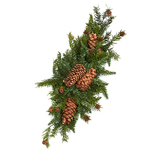 Factory Direct Craft Artificial Mixed Pine and Pine Cone Swag | for Indoor Decor (Pine Artificial Swags)