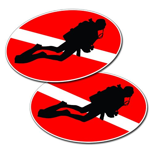 Scuba Dive Oval with Diver on Down Flag 3 x 5 Decal Sticker
