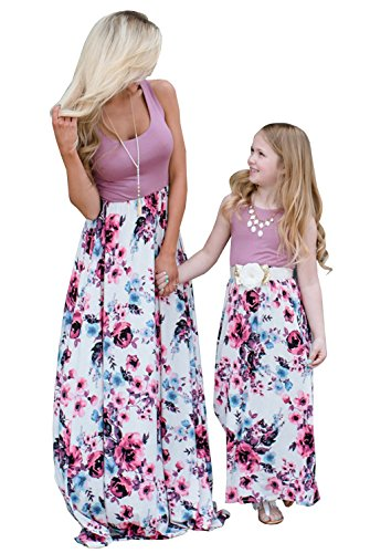 Mommy and Me Dresses Casual Floral Family Outfits Summer Matching Maxi Dress (Purple, 3T)
