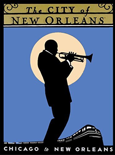 A SLICE IN TIME The City of New Orleans Jazz Player Chicago to New Orleans by Train Louisiana United States of America Advertisement Travel Poster. Measures 10 x 13.5 inches
