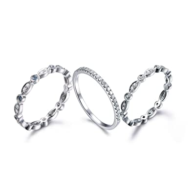 Amazon Com 3 Natural Diamond Blue Topaz Stackable Rings Sets 14k