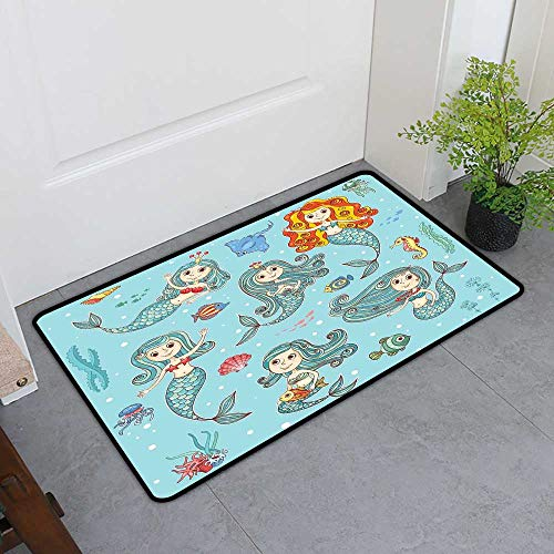 (TableCovers&Home Magic Doormat, Mermaid Doormats for High Traffic Areas, Cute Collection of Mermaids with Different Types of Sea Creatures Marine Decor Print (Teal Orange, H20 x)