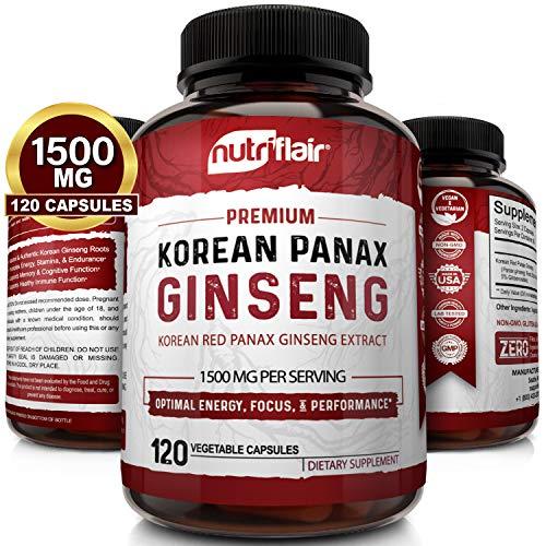 NutriFlair Korean Red Panax Ginseng 1500mg - 120 Vegan Capsules - High Strength Ginseng Root Ginsenosides Extract Powder Supplement - Energy, Focus, Libido, Performance Pills for Women & Men, Non-GMO NutriFlair