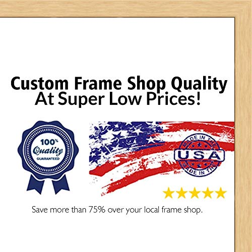 (Poster Palooza 24x36 Traditional Natural Wood Picture Frame - UV Acrylic, Foam Board Backing, Hanging Hardware Included!)