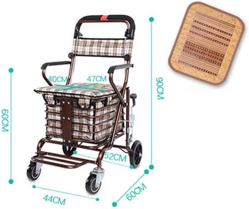 Trolley portátil para Mayores Caminador Plegable con Frenos, Ruedas giratorias de 360 Grados y Bolsas de Compras Impermeables de Gran Capacidad
