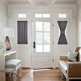 NICETOWN Blackout French Door Curtains - Thermal Insulated Sidelight Curtain Panel 25W by 40L Inches - Grey (One Panel)