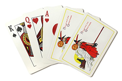 Halloween Greetings Witch on Broom with Friends Scene (Playing Card Deck - 52 Card Poker Size with Jokers) -