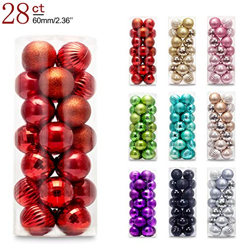 AMS 60mm/2.36'' Christmas Ball Plating Ornaments Tree Collection for Holiday Parties Decoration (28ct, -