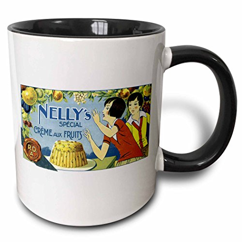 - 3dRose BLN Vintage Food Labels and Advertising Posters - Vintage Nelly's Special Crème Aux Fruits Label - 15oz Two-Tone Black Mug (mug_129905_9)
