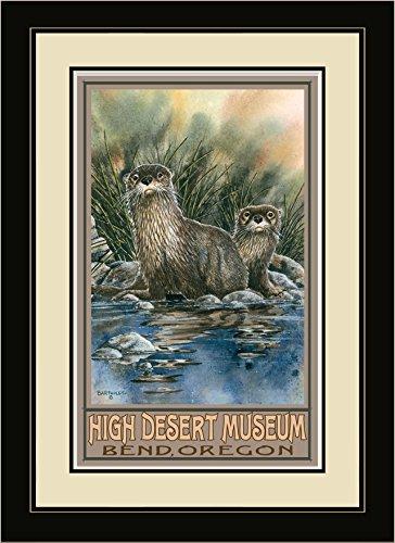 Northwest Art Mall OTT River Otters High Desert Museum Bend Oregon Framed Wall Art by Artist Dave Bartholet, 16