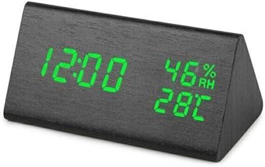 Inicio LED Madera Alarma Digital Mesa Reloj Fecha Temperatura ...
