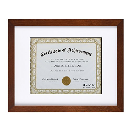 RPJC Document Frame/Certificate Frames Made of Solid Wood High Definition Glass and Display Certificates Standard Paper Frame 11X14 Mat 8.5x11 Brown