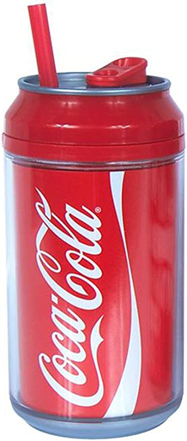 Cool Gear Coca Cola Double Wall Insulated Travel Tumbler Cup with Straw