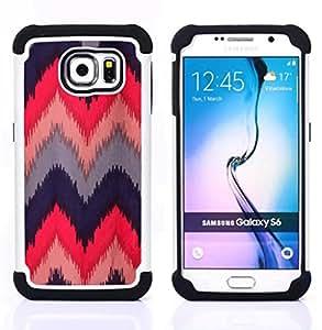 - chevron quilted crocheted fabric design - - Doble capa caja de la armadura Defender FOR Samsung Galaxy S6 G9200 RetroCandy