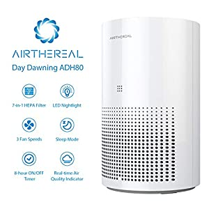 Airthereal ADH80 Air Purifier with True HEPA for Car, Desktop and Home – Auto Control plus Air Quality Monitor – Removes Allergies, Dust, Pollen, Smoke, Odor and More – Day Dawning 47 CFM