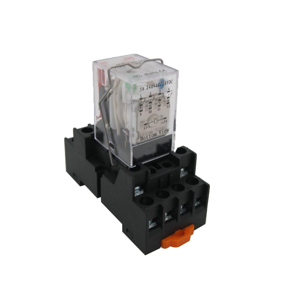 TWTADE/HH54P my4nj DC 12V Coil 4PDT 4NO+4NC 14 Pins Electromagnetic Power Relay with Indicator Light add YJF14A Base (Quality assurance for 2 years)