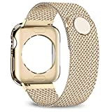 jwacct Compatible for Apple Watch Band with Screen Protector 38mm 40mm 42mm 44mm, Soft TPU Frame Case Cover Bumper Compatible for Apple Series 1/2/3/4 Yellow Gold