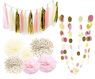 Pink Cream Glitter Gold Tissue Paper Pom Pom Tissue Pom Pom Paper Tassel Garland Polka Dot Tissue Poms Paper Garland for Baby Shower Decoration Bridal Shower Pink Gold First Birthday by Qian's Party