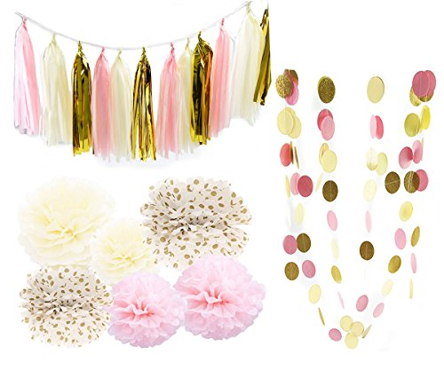 Pink Cream Glitter Gold Tissue Paper Pom Pom Tissue Pom Pom Paper Tassel Garland Polka Dot Tissue Poms Paper Garland for Baby Shower Decoration Bridal Shower Pink Gold First Birthday