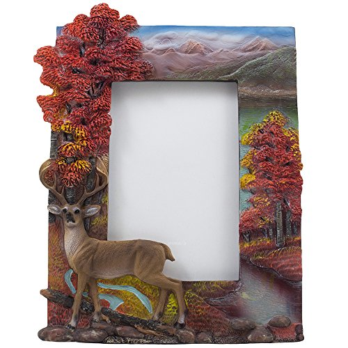 Decorative Deer Desktop Picture Frame with Fall Colors, Mountains and Stream That Holds 4 X 6 Photo for Rustic Lodge & Hunting Cabin Decor or Gifts for Hunters Deer Rustic Frame