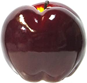 Viabella 4-Pack Artificial Apple Dark Red Color Extra-Large 4.75-inch - Round Apples Fruit - Four Pieces
