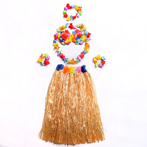 [BLZ Hawaiian Hula Straw Color Skirt Fancy Beach Grass Underdress Costume Set] (Hawaiian Costumes For Adults)