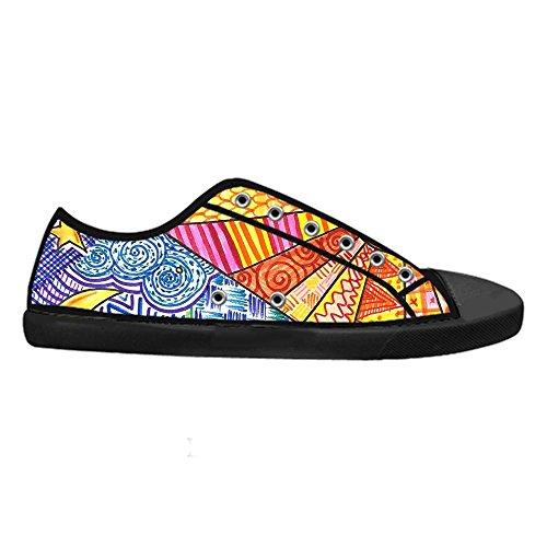 Scarpe da Uomo Chiusura con Lacci Classic Flat Canvas Low-Top Nero Sneaker Traspirante Custom Design Art