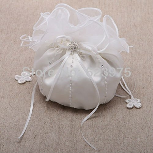 Ruffle Top Faux Pearl Satin Wedding Bridal Money Bag White
