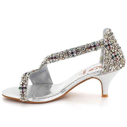 AARZ LONDON Womens Ladies Crystal Open Toe Evening Party Wedding Bridal Prom Diamante High Heel Sandal Shoes Size Silver HWcfK