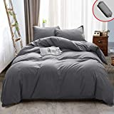 Vailge 3 Pieces Ultra Soft Duvet Cover Set with Zipper Closure, 100% 120gsm Microfiber Quality Premium Duvet Cover, Light Weight & Easy Care Bedding Duvet Cover (Grey,King)