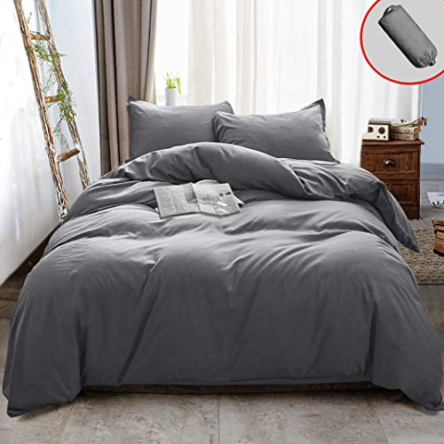 Vailge 3 Pieces Ultra Soft Duvet Cover Set with Zipper Closure, 100% 120gsm Microfiber Quality Premium Duvet Cover, Light Weight & Easy Care Bedding Duvet Cover (Grey,Full)
