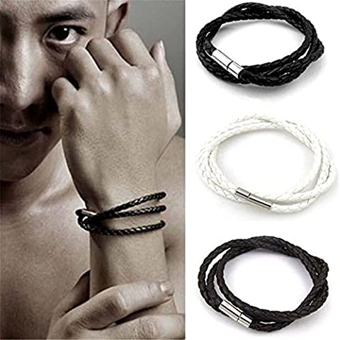 Botrong New Men Fashion Leather Bracelets Charm Bangle Handmade Round Rope (Coffee) - Pearl Graduation Charm