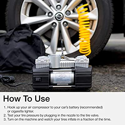 Portable Double Cylinder Air Compressor Tire Inflator with LED Flashlight, 12V Compact Air Pump for Car Tires, 150 PSI Heavy-Duty Metal Tire Pump, For SUV, Off-Road, Trailer, Truck, Bike, Air Bed: Home Improvement