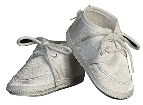 Baby Boy Satin Bootie Perfect for a Christening Baptism or Any Special Occasion (Size 4 / 8 to 10 months / 4.6 inch -