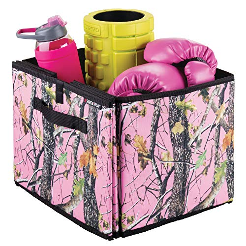 - mDesign Woods Camouflage Expandable Cargo Storage Organizer Bin for Cars/Trucks/SUVs/RVs - Pink Forest/Black