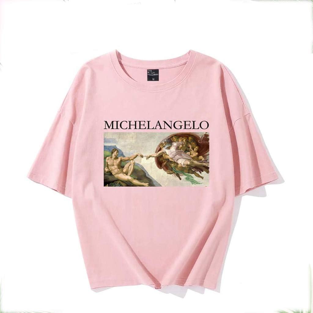 Color : Pink, Size : 2XL Coppie Cime Mezza Manica Rugby clothing boutique Q Michelangelo Crea Adam Cotone a Maniche Corte t-Shirt Uomini e Donne