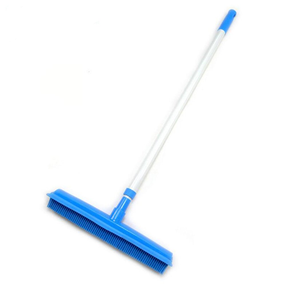 SUMDY Furemover Broom, Extra Long Handle Push Broom with Squeegee,Durable Silicone Blade Bristle Broom for Pet Cat Dog Hair Carpet Hardwood Tile Windows Clean Water Resistant
