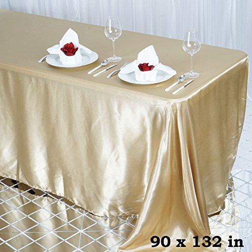 "Efavormart 90x132"" Rectangle CHAMPAGNE Wholesale SATIN Tablecloth Banquet Linen Wedding Party Restaurant Tablecloth"
