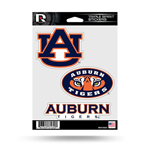 Rico NCAA Auburn Tigers Die Cut 3-Piece Triple Spirit Sticker Sheet