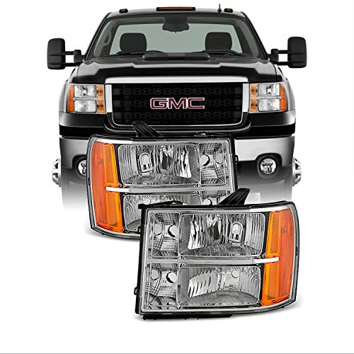 For 07-13 Sierra 1500 07-14 Sierra 2500HD 3500HD Headlights Front Lamps Direct Replacement Left + Right