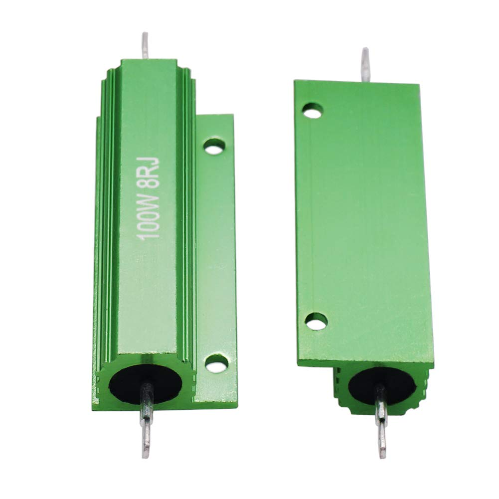 Cutequeen 2Pcs 50W Watt 25 Ohm Resistor Aluminum Case Wirewound Chassis Mounted