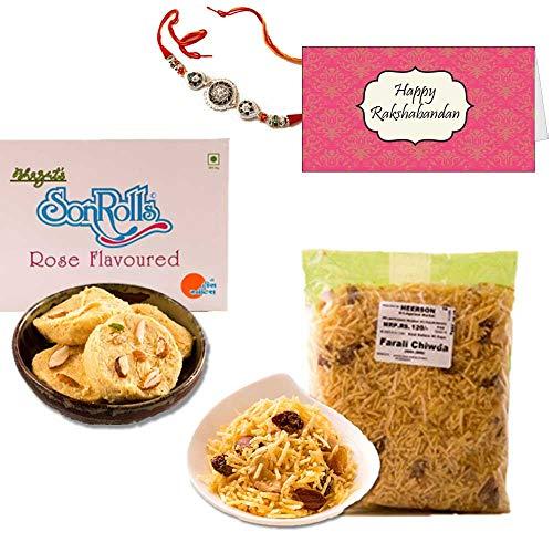 - Bite of India (Mumbai) Classic Rakhi Combo Sweet Gift Box - Designer Rakhi, Heera Rose Son Rolls, Heerson Sp Farali Chiwda