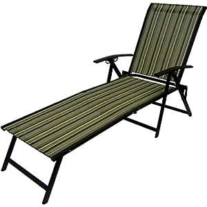 Striped Folding Chair Lounge Adjustable Back Lay Lie Sit Beach Patio Lawn Sunbathe Tan Weatherproof Waterproof Outdoor Set of 2 Seats Steel Frame Brown & eBook by Easy&FunDeals